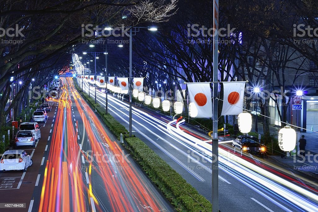 Light Trails in Harajuku, Tokyo stock photo