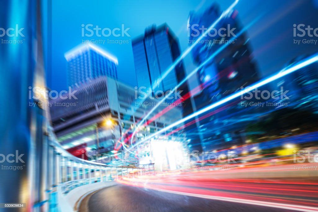 light trails in the downtown district,hongkong stock photo