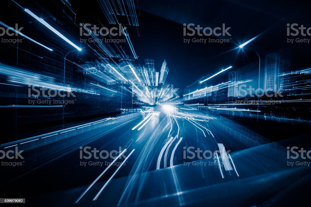 light trails in the downtown district,tianjin stock photo