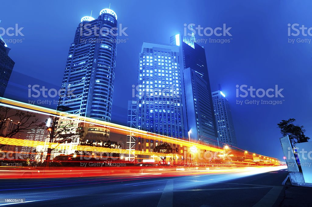 Light trails in yellow, red, and blue stock photo
