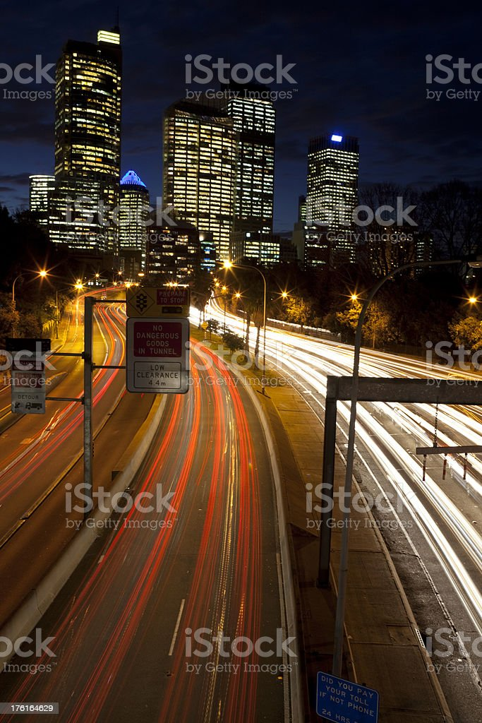 Light Trails Into Sydney royalty-free stock photo