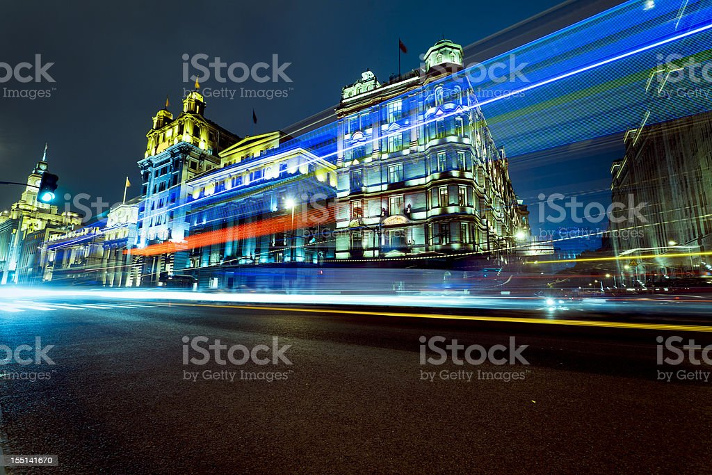 light trails of a speeding bus royalty-free stock photo
