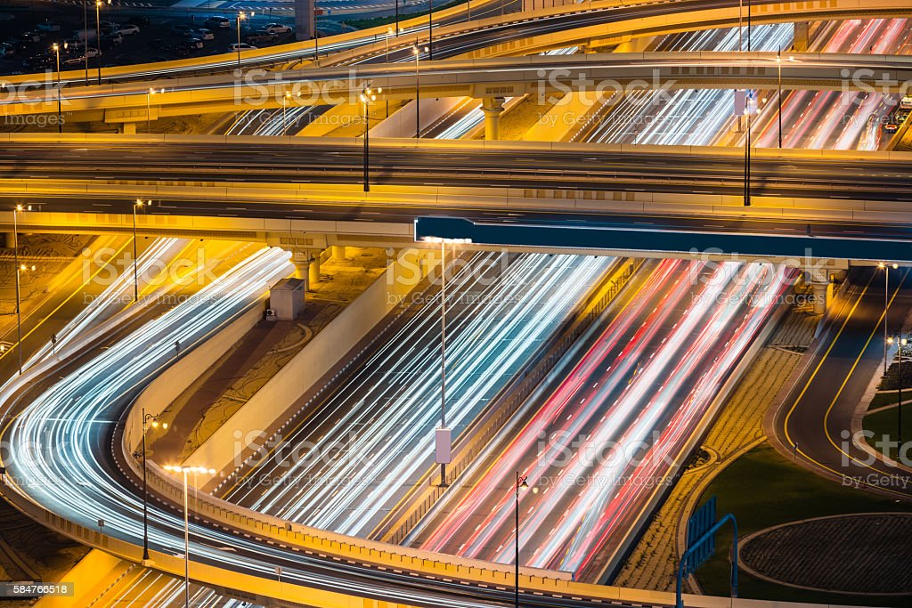 Light trails of vehicles in Dubai, United Arab Emirates stock photo