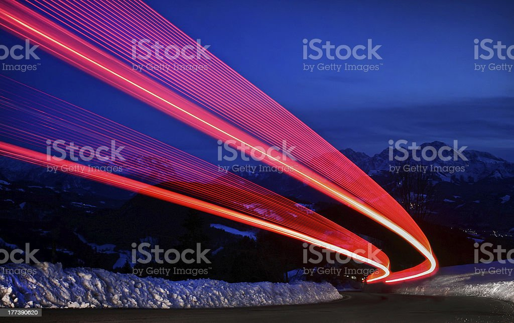 Light trails on a highway stock photo