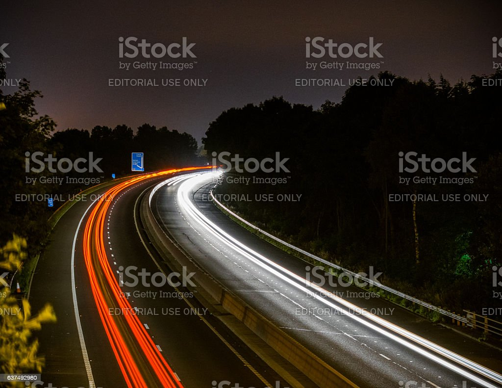 Light Trails On M65 stock photo