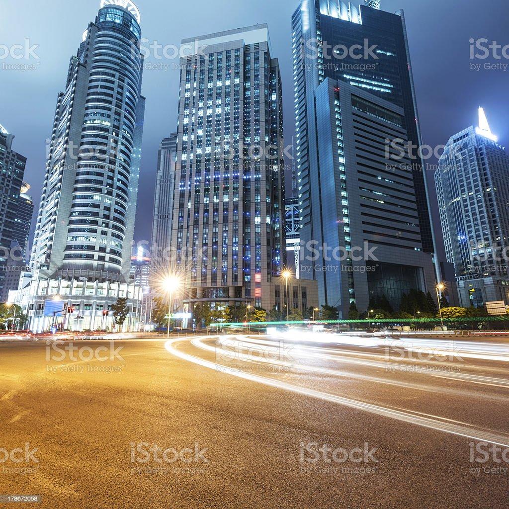 light trails on shanghai royalty-free stock photo