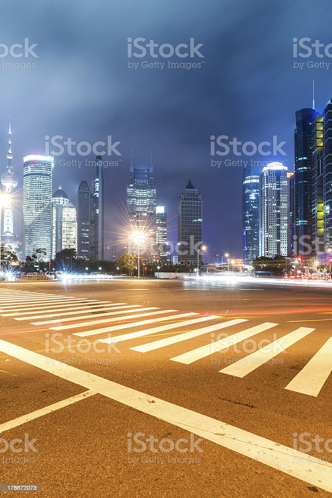 light trails on shanghai royalty-free stock photo