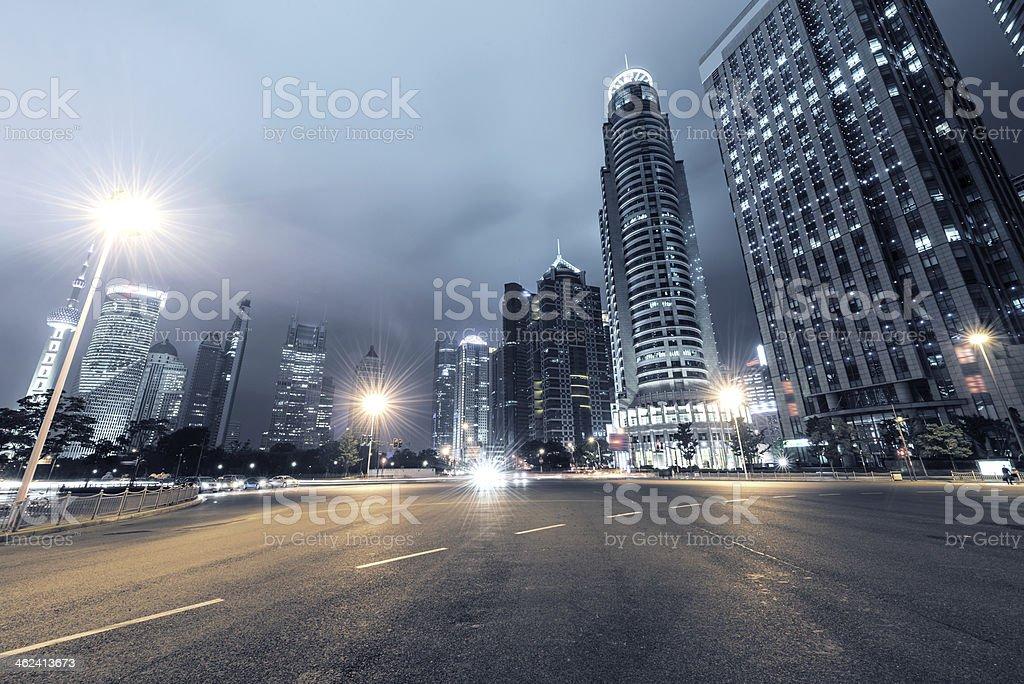 light trails on shanghai stock photo
