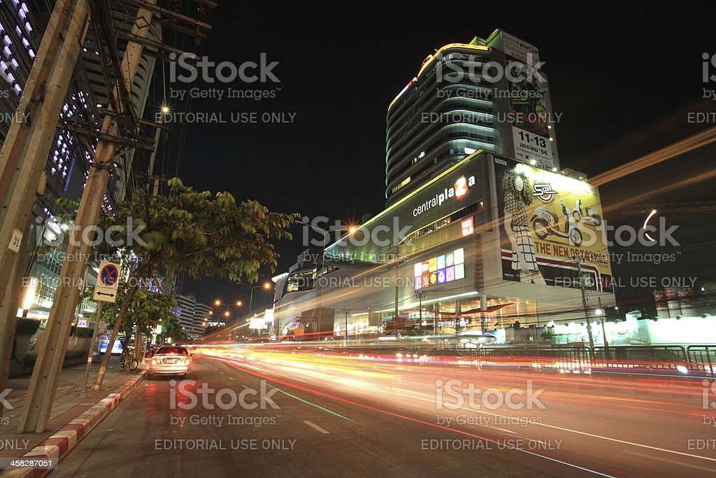 Light trails on street and Central Rama 9 royalty-free stock photo