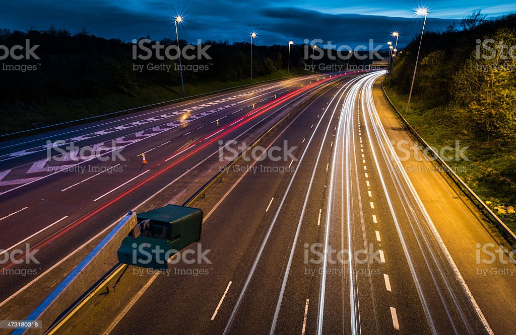 Light Trails On The M6 Motorway. stock photo