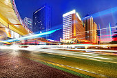 light trails on the modern building background in shanghai china