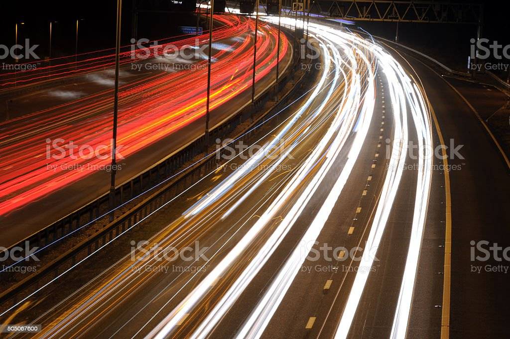 Light Trails on the Motorway - Stock Photo stock photo