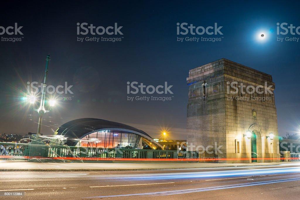 Light trails on the Tyne Bridge at night stock photo