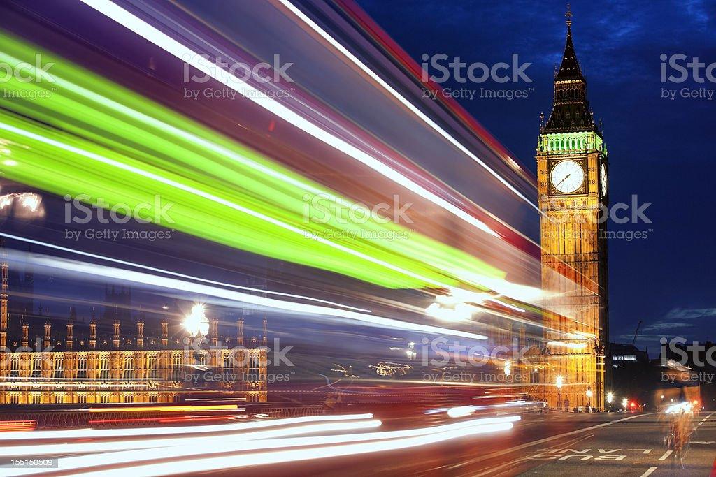 Light trails on Westminster bridge royalty-free stock photo