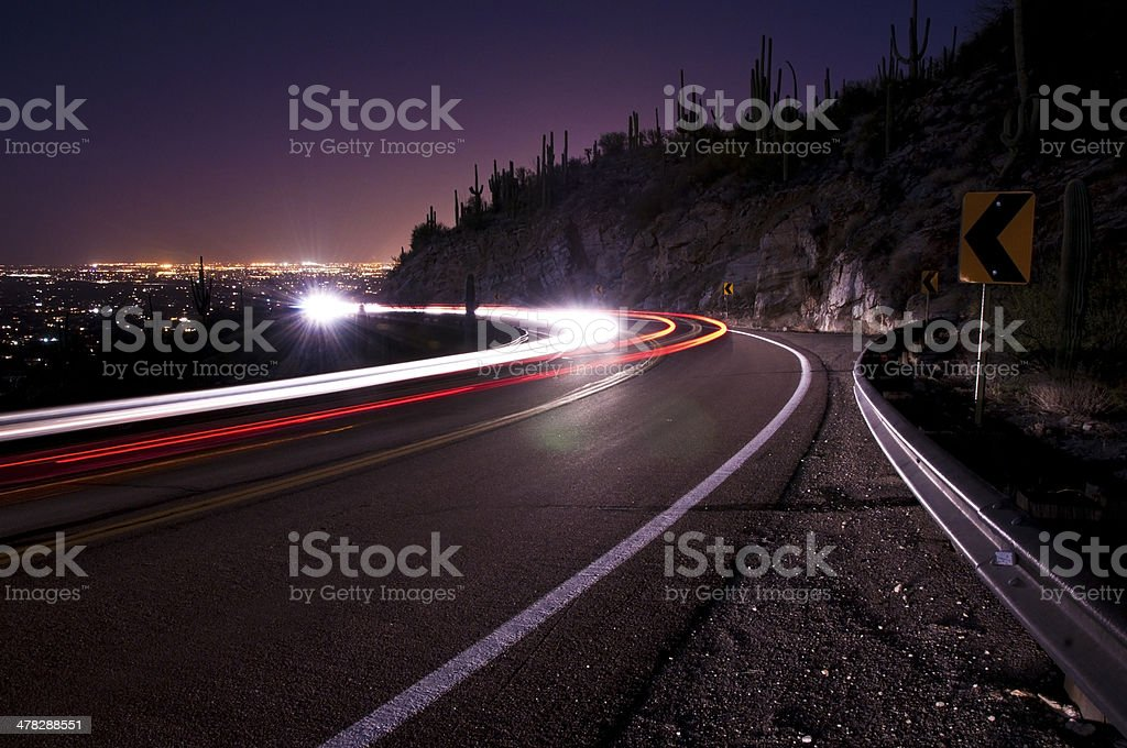 Light Trails over Tucson stock photo