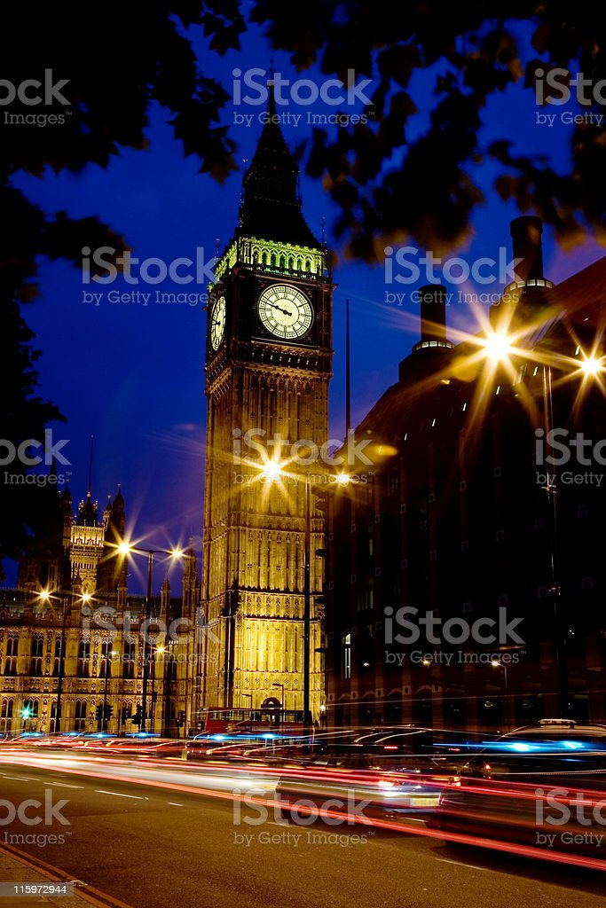 Light trails past Big Ben royalty-free stock photo