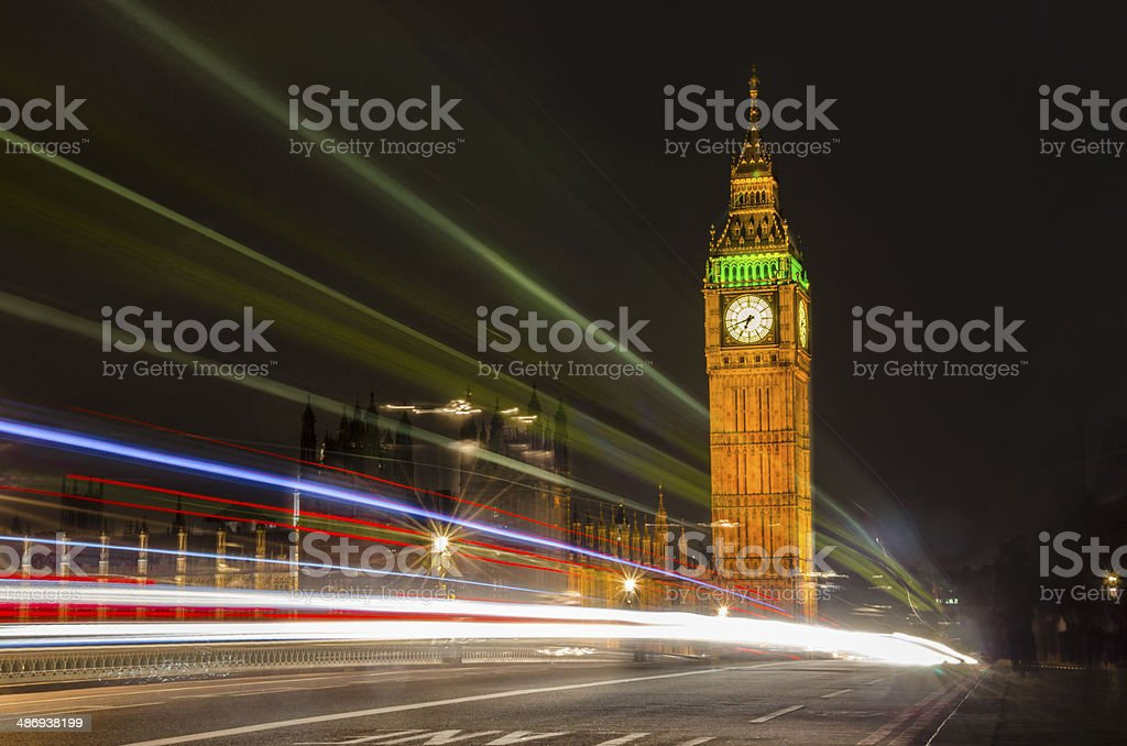 Light trails with Big Ben and House of Parlament stock photo