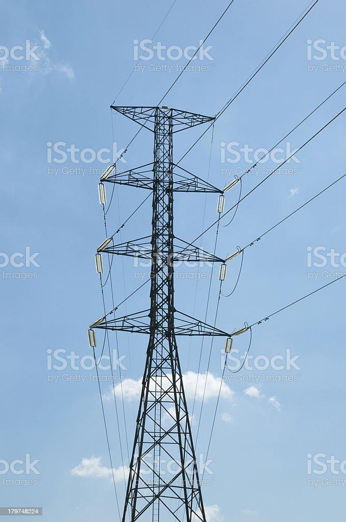 Light transmission high voltage power pole. royalty-free stock photo
