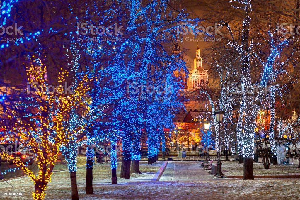 Light Tree Christmas Decoration,Bolshoi Theatre square park,Moscow,Russia stock photo