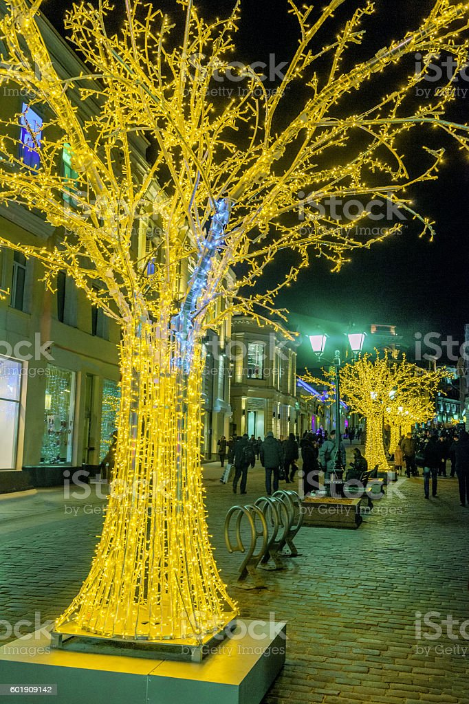 Light Tree Christmas Decoration,Street in the center of Moscow stock photo