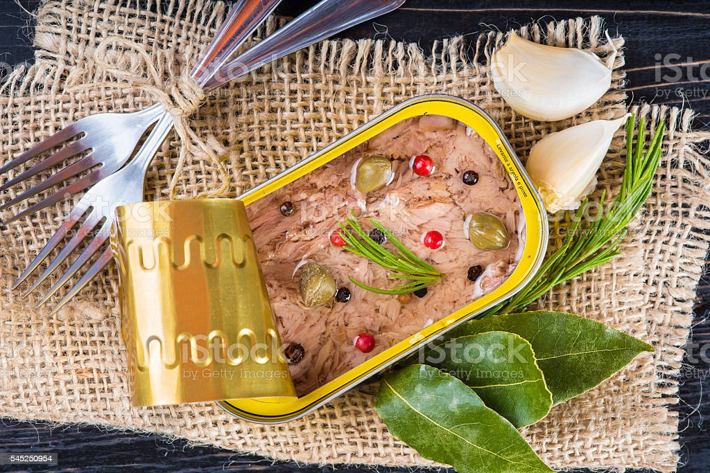 Light tuna in olive oil canned stock photo