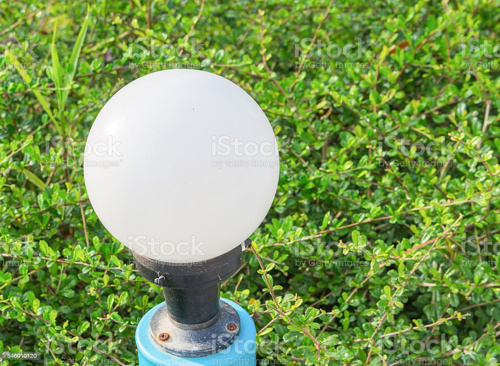 light White Glowing spheres in garden stock photo