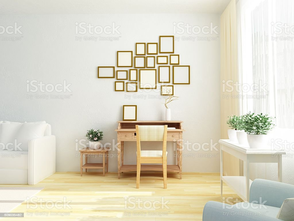 Light white interior of living room. Vintage table. Scandinavian Style stock photo