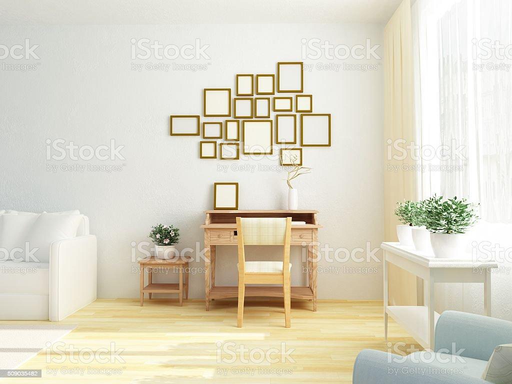 Light white interior of living room. Vintage table. Scandinavian Style stock photo