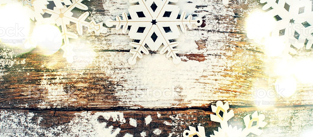 Light with Decorative Snowflakes as the Christmas Decor stock photo