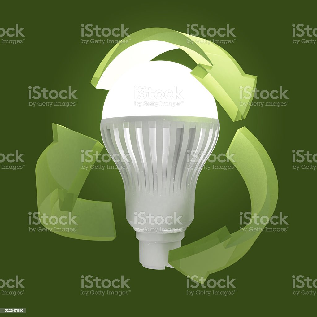 LED Light with green recycling symbol stock photo