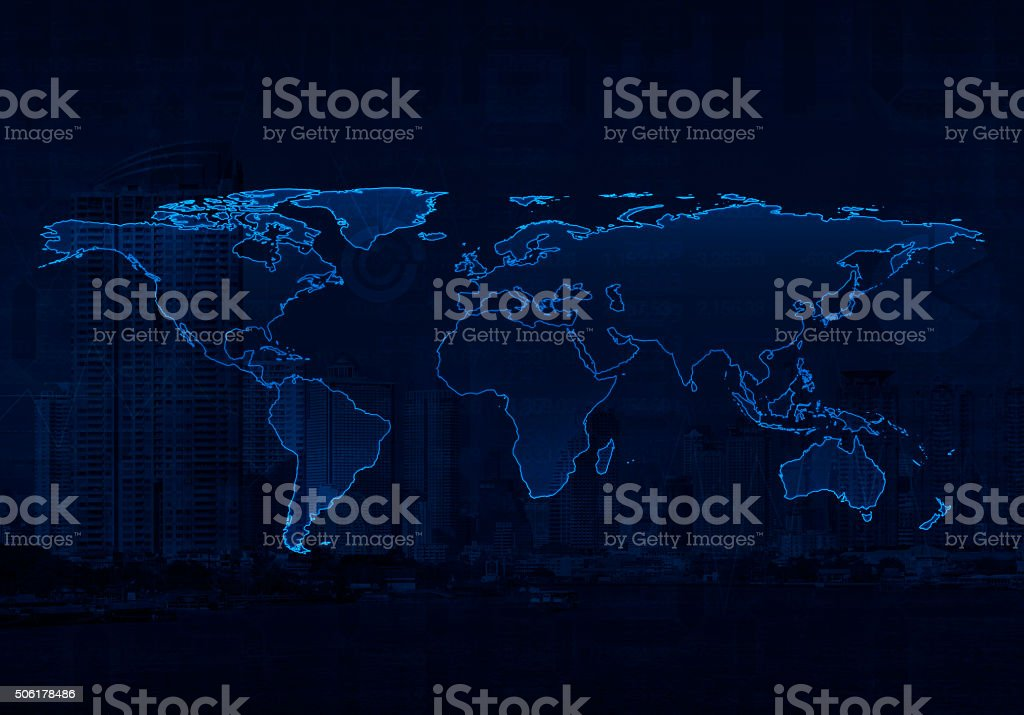 Light world map, Elements of this image furnished by NASA stock photo