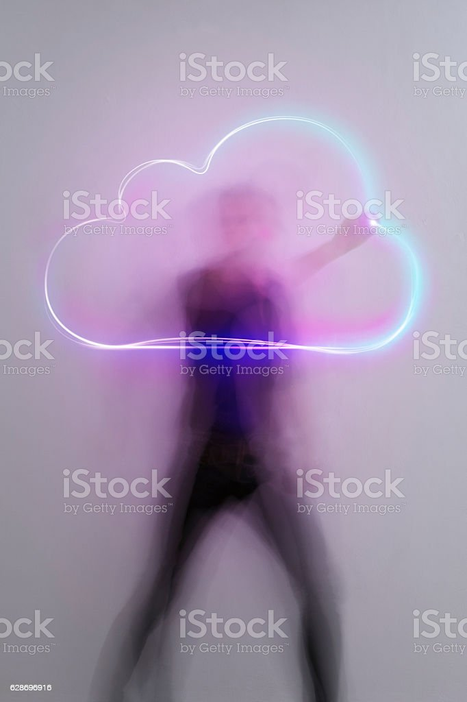 light_trail_symbol_cloud stock photo