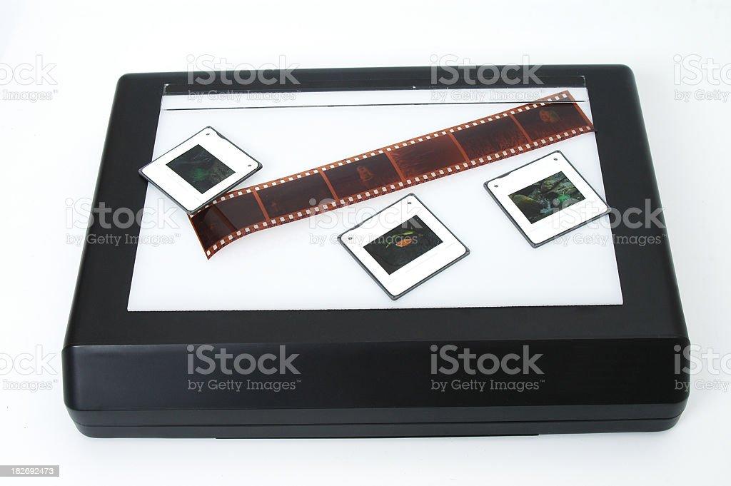 Lightbox, film and slides stock photo