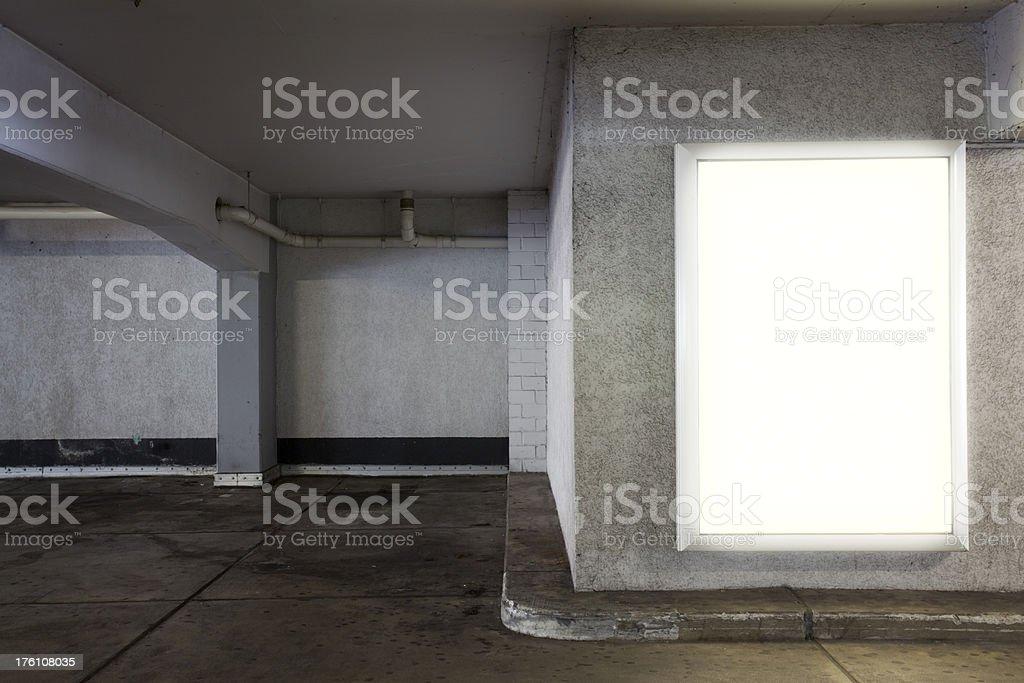 Lightbox in Parking Garage royalty-free stock photo