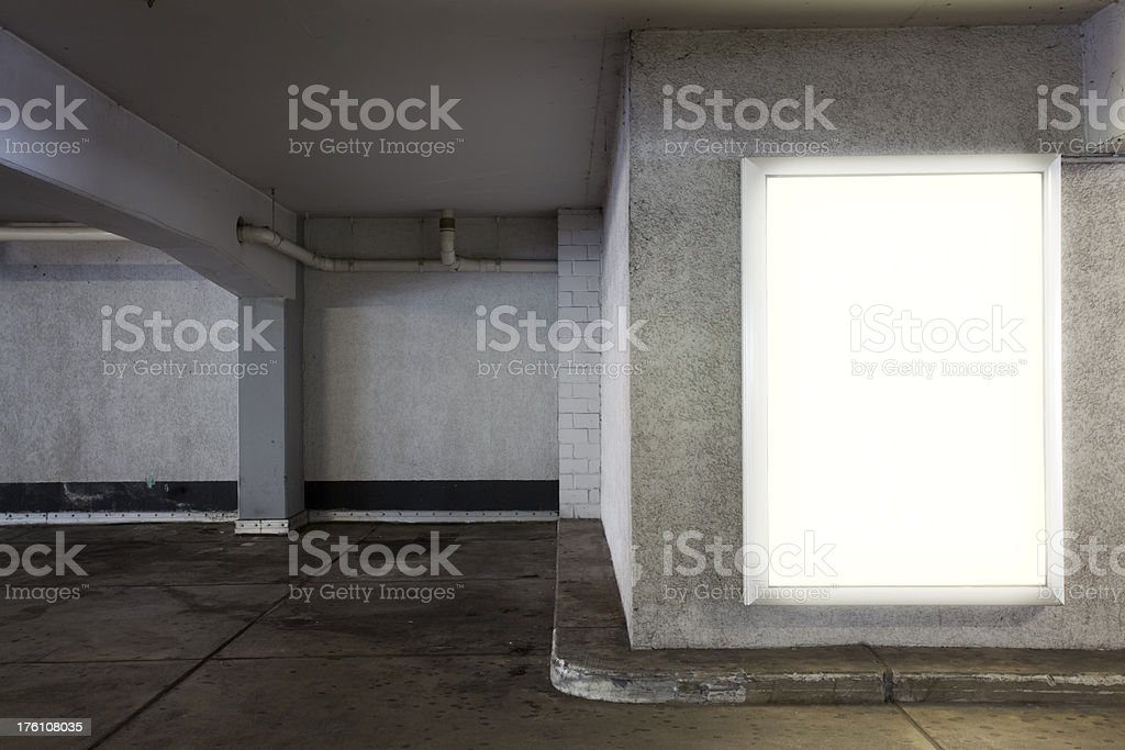 Lightbox in Parking Garage stock photo