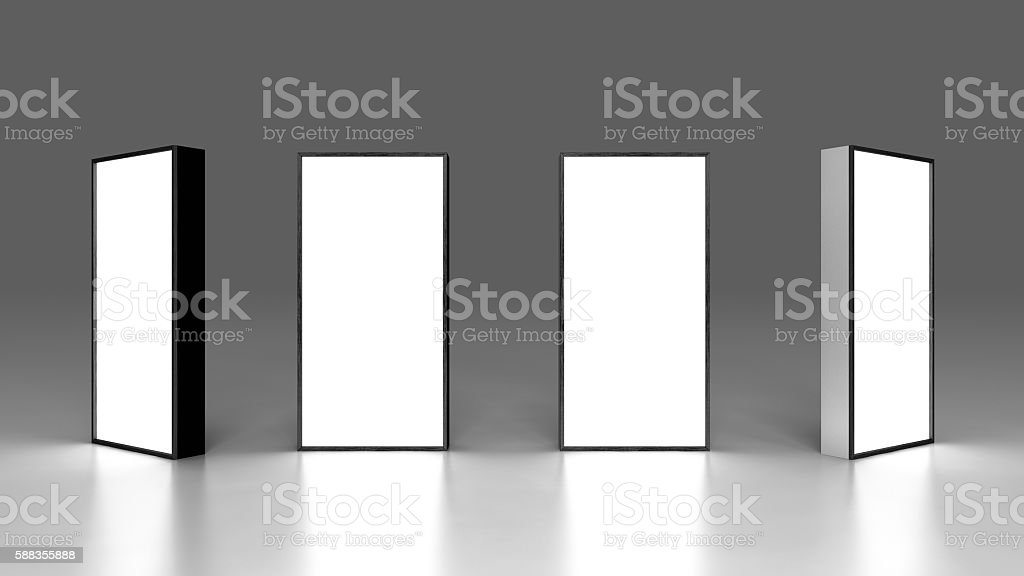 Lightbox On Black Background 3D rendering stock photo