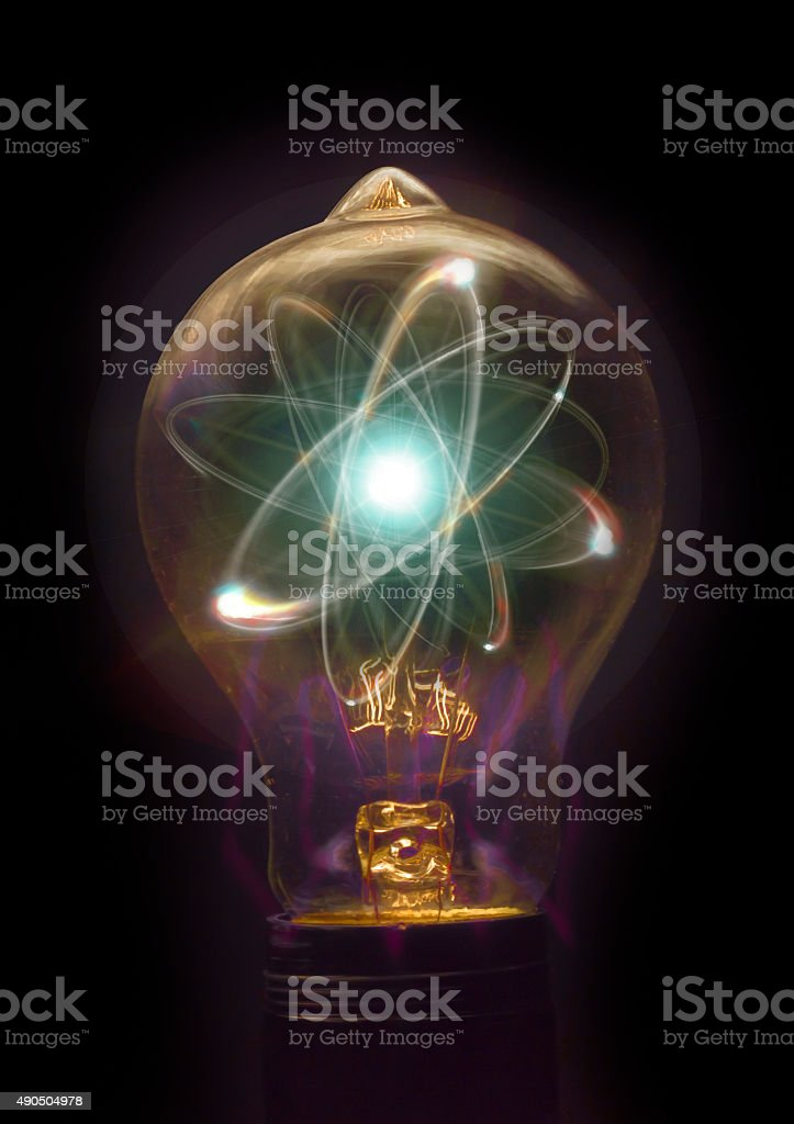 Lightbulb Atom Particle stock photo