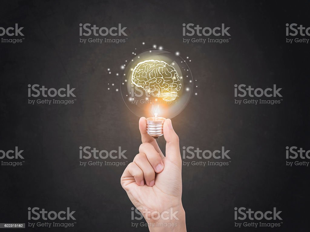 lightbulb brainstorming creative idea abstract icon on business hand. stock photo