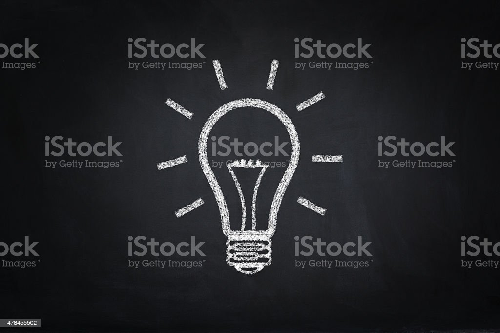 Lightbulb drawing on blackboard stock photo