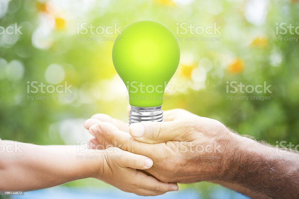 Lightbulb in hands stock photo