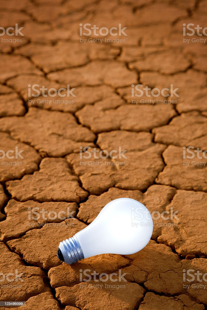 Lightbulb in the Desert stock photo