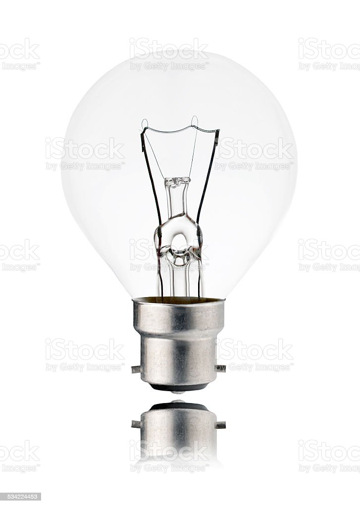 Lightbulb OFF - Golf Ball Shaped, Bayonet, Isolated on white stock photo
