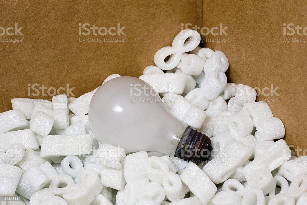 Light-bulb safely packaged in styrofoam royalty-free stock photo