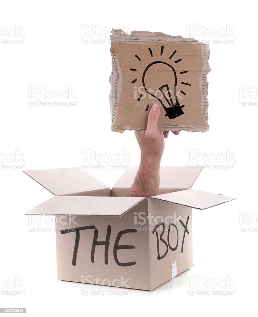 Lightbulb Think Outside the Box on White Background royalty-free stock photo