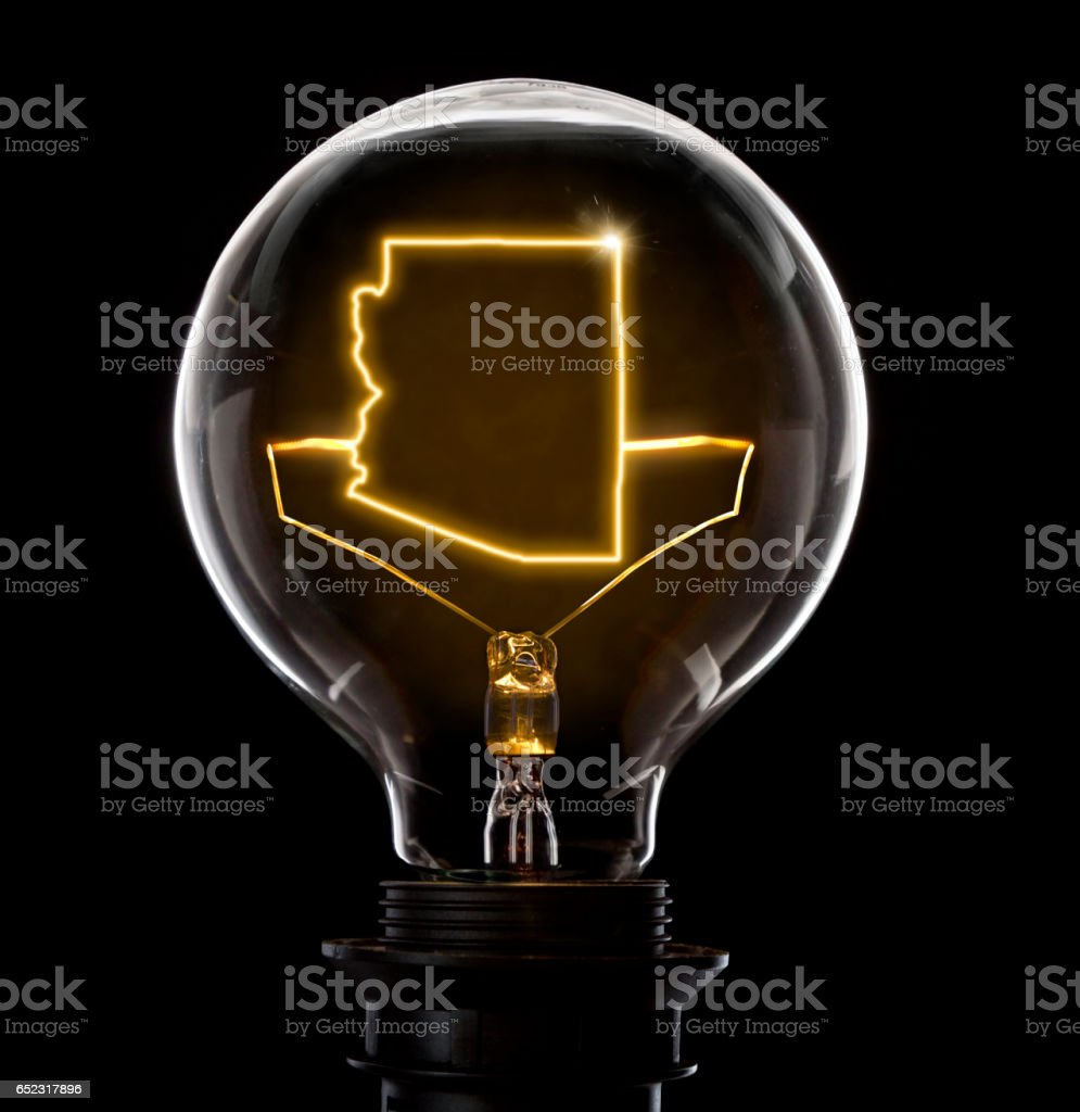 Lightbulb with a glowing wire in the shape of Arizona (series) stock photo