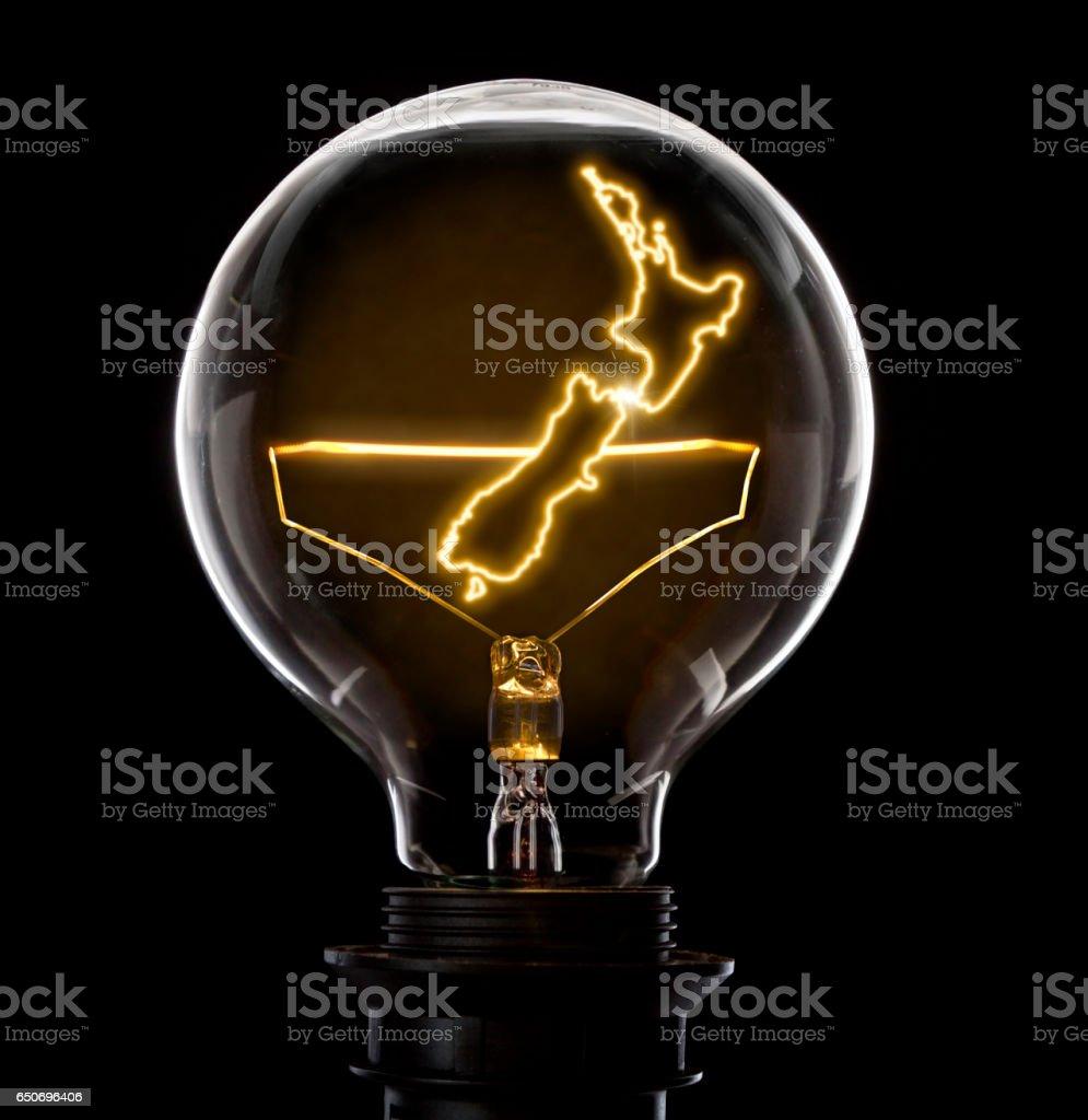 Glühbirne Mit Einem Glühenden Draht In Der Form Von Neuseeland ...