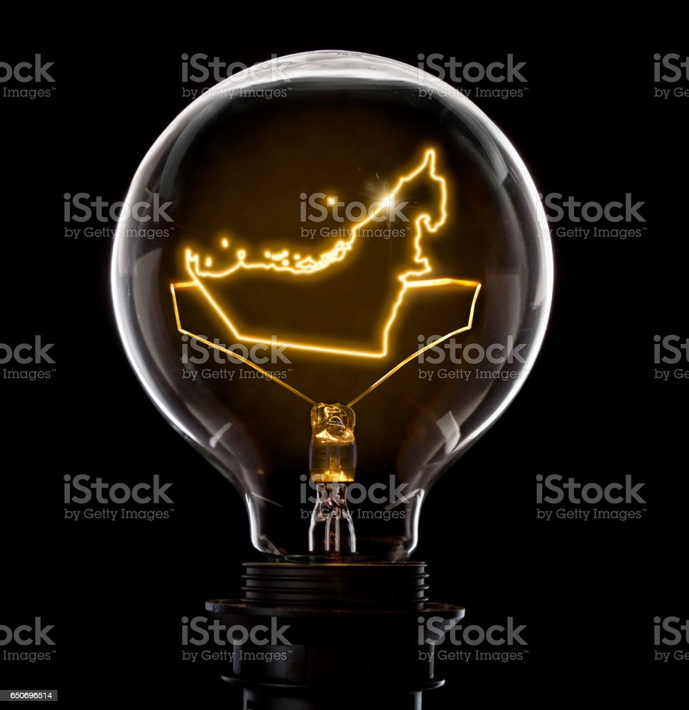 Lightbulb with a glowing wire in the shape of United Arab Emirates (series) stock photo