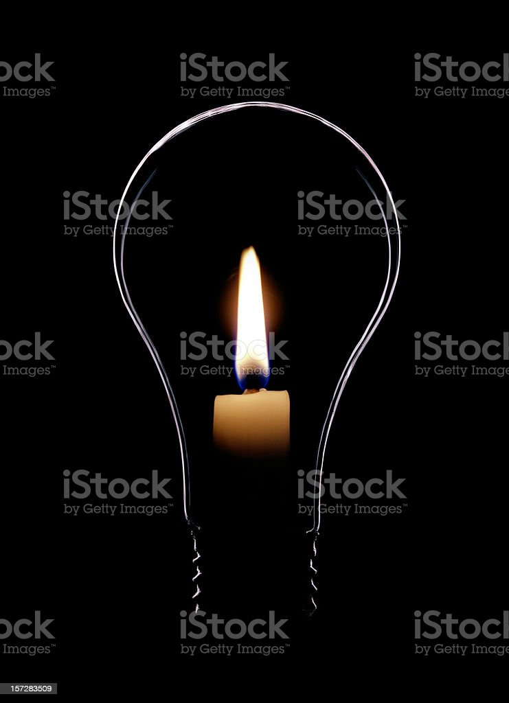 Lightbulb with Flame stock photo