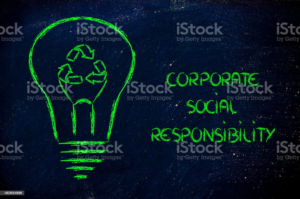 lightbulb with recycle symbol instead of filament stock photo