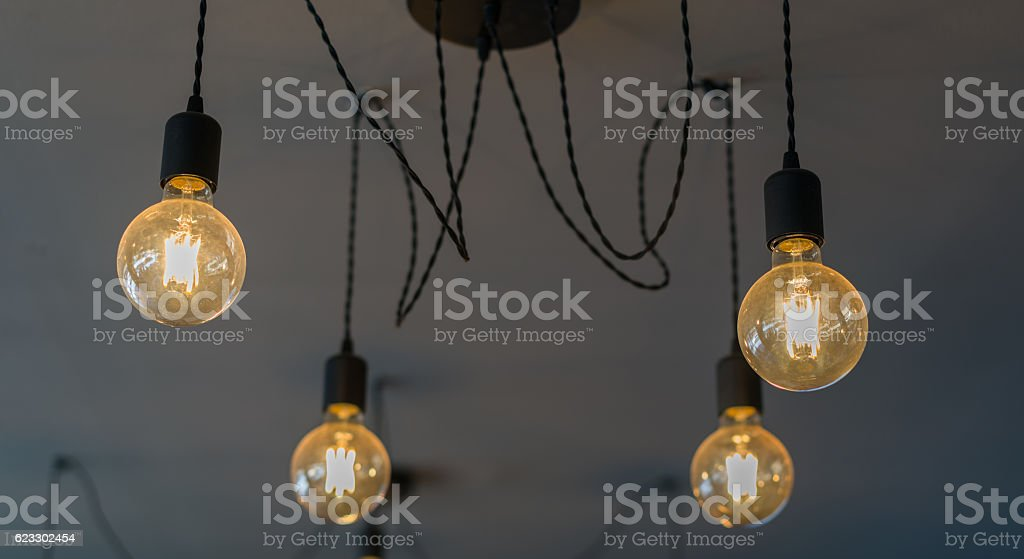 lightbulbs on black background, idea concept stock photo